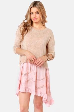 Cute Beige Sweater Brown Sweater High Low Sweater 40 00