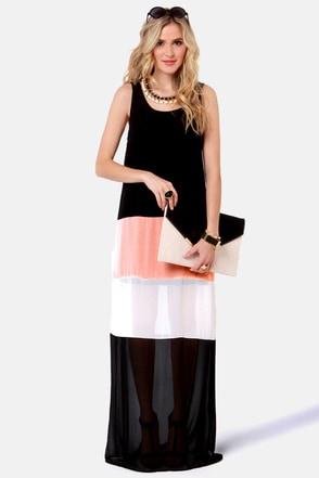 Cute Maxi Dress Color Block Dress 46 00