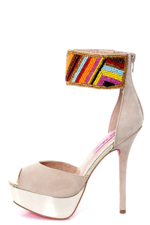 Betsey Johnson Ireen Nude Multi Beaded Ankle Cuff Platform Heels