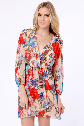 Pretty Floral Print Dress Blush Dress Wrap Dress 51 00