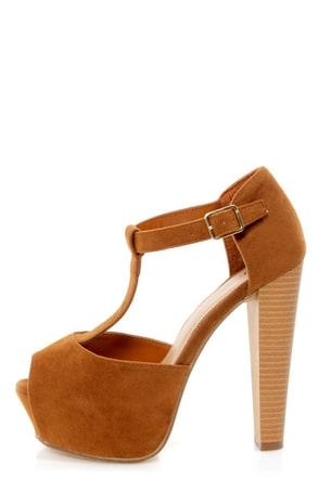 Brina 01 Tan T-Strap Peep Toe Platform Heels