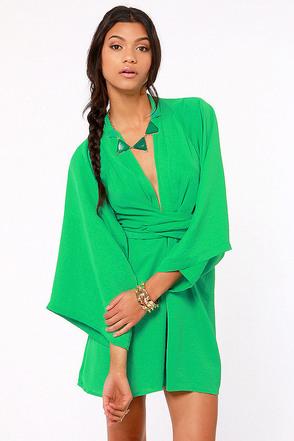 Blaque Label Dress Emerald Green Dress Wrap Dress