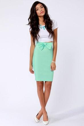 Cute Mint Blue Skirt Pencil Skirt Bow Skirt 34 00