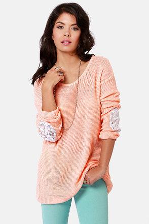 Cute Peach Sweater Sequin Sweater Elbow Patch Sweater