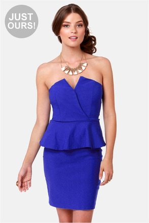 Sexy Royal Blue Dress Strapless Dress Peplum Dress