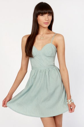 Cute Striped Dress Bustier Dress Chambray Dress