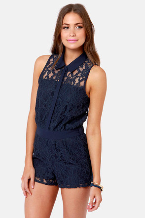 Cute Navy Blue Romper Lace Romper Button Up Romper