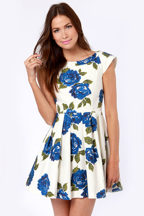 Mink Pink Feeling Blue Dress Floral Dress Print Dress
