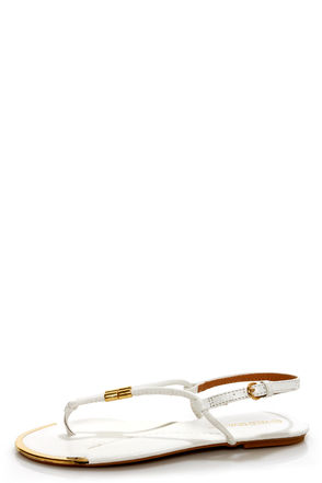 Wild Diva Lounge Tabiana 04 White and Gold Thong Sandals