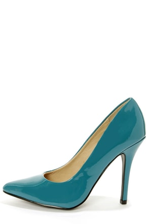 My Delicious Date Dark Teal Patent Pointed Pumps