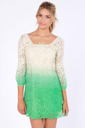 Cool Cream Dress Green Dress Ombre Dress Lace Dress