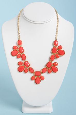 gorgeous coral necklace statement necklace 16 00