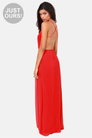 LULUS Exclusive Rooftop Garden Backless Bright Red Maxi Dress