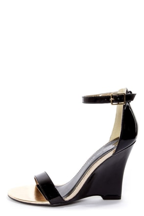 Madden Girl Yolandi Black Patent Single Strap Wedges