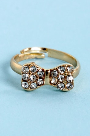 How Low Can You Bow Gold Rhinestone Knuckle Ring