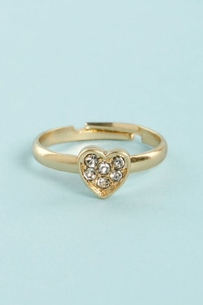 Heart Knuck Life Gold Rhinestone Knuckle Ring