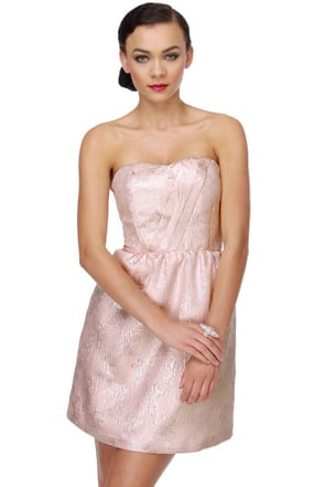 Tulle Pink Dress Strapless Dress Glitter Dress 61 00