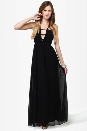 Tug at Your Heart Strings Black Maxi Dress