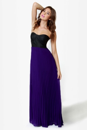 Slow Motion Black and Purple Maxi Dress