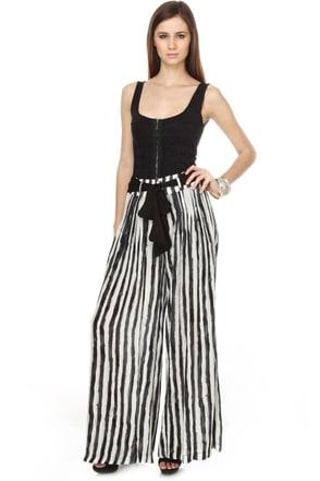 Manhattan Chic Striped Wide Leg Pants