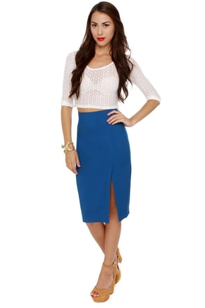 Fashion Internship Blue Pencil Skirt