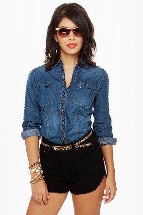 Blank NYC Studded Denim Shirt