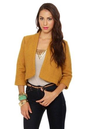 BB Dakota Suki Topaz Yellow Cropped Jacket