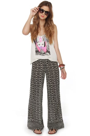 Billabong Cosima Pull-On Black Print Pants