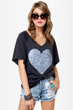 Billabong Heart You and Me Grey Print Top