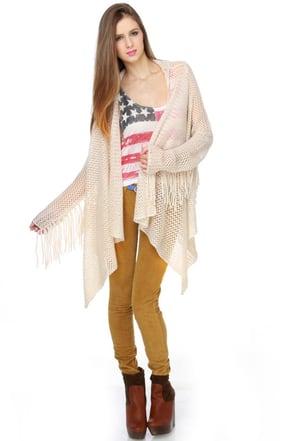 Billabong Oracle Fox Loving You Beige Sweater Wrap