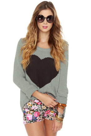 Billabong Homegirlz Po Crop Grey Heart Print Sweater