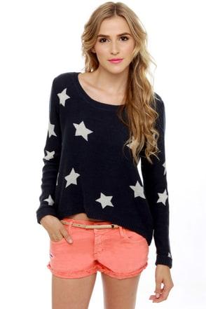 Billabong Homegirlz Po Crop Navy Star Print Sweater