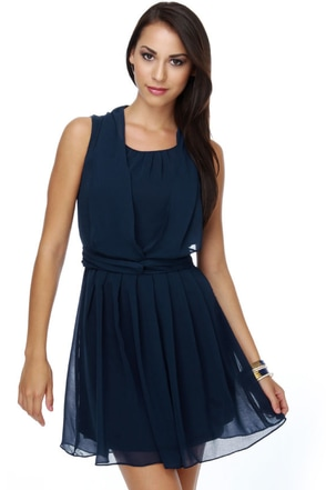 Savoy Ballroom Pleated Navy Blue Dress