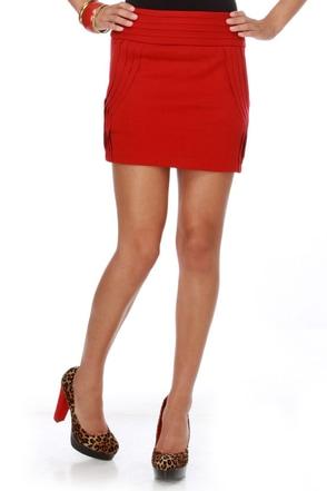 Contour the World Red Mini Skirt