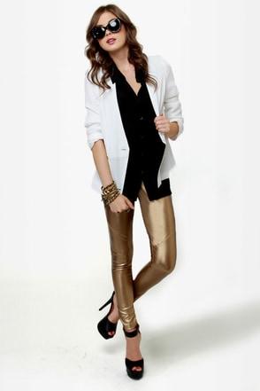 Leader of the Pack Gold Vegan Leather Leggings