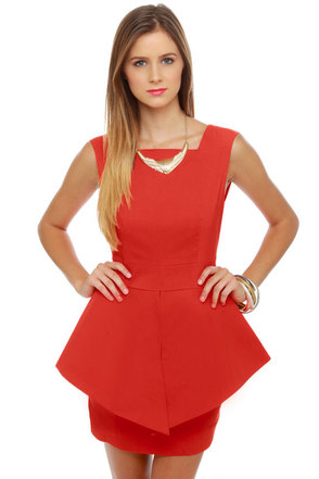 Structure-y Goods Coral Red Dress