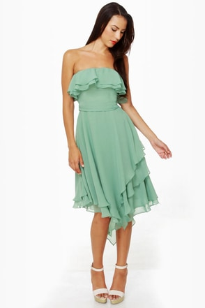 Frilled to be Here Strapless Sage Green Dress