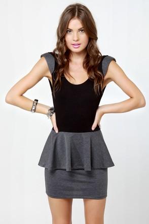 Marian Black and Grey Dress