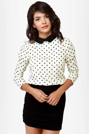 Kylie Cream Polka Dot Top