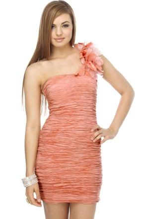 Crepe Expectations One Shoulder Pink Dress