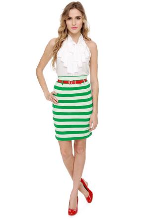 Workin\\\' Like Birkin Striped Green Pencil Skirt
