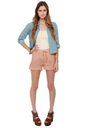 Maharani Blush Embroidered Shorts