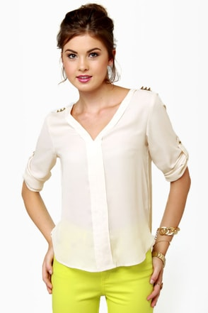 We Will Rock You Studded Cream Top