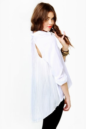 Twisting Tradition Pleated White Top