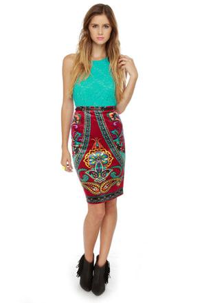 The Velveteen Radness Print Pencil Skirt