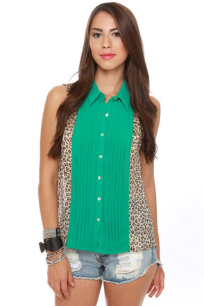 Meow and Then Sleeveless Leopard Print Top
