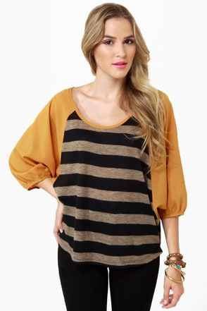 Pub Fare Yellow Striped Top