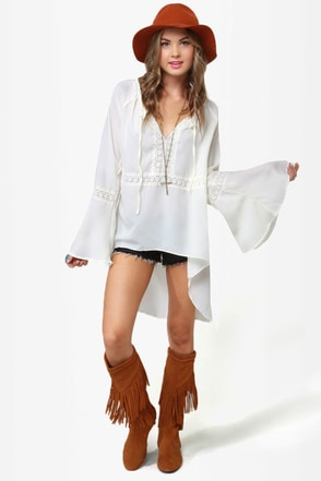 Gypsy Junkies Casablanca Ivory Lace Tunic
