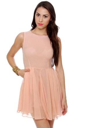 Peach Tea Peach Polka Dot Dress