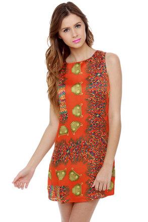 Artifact Quest Orange Print Dress
